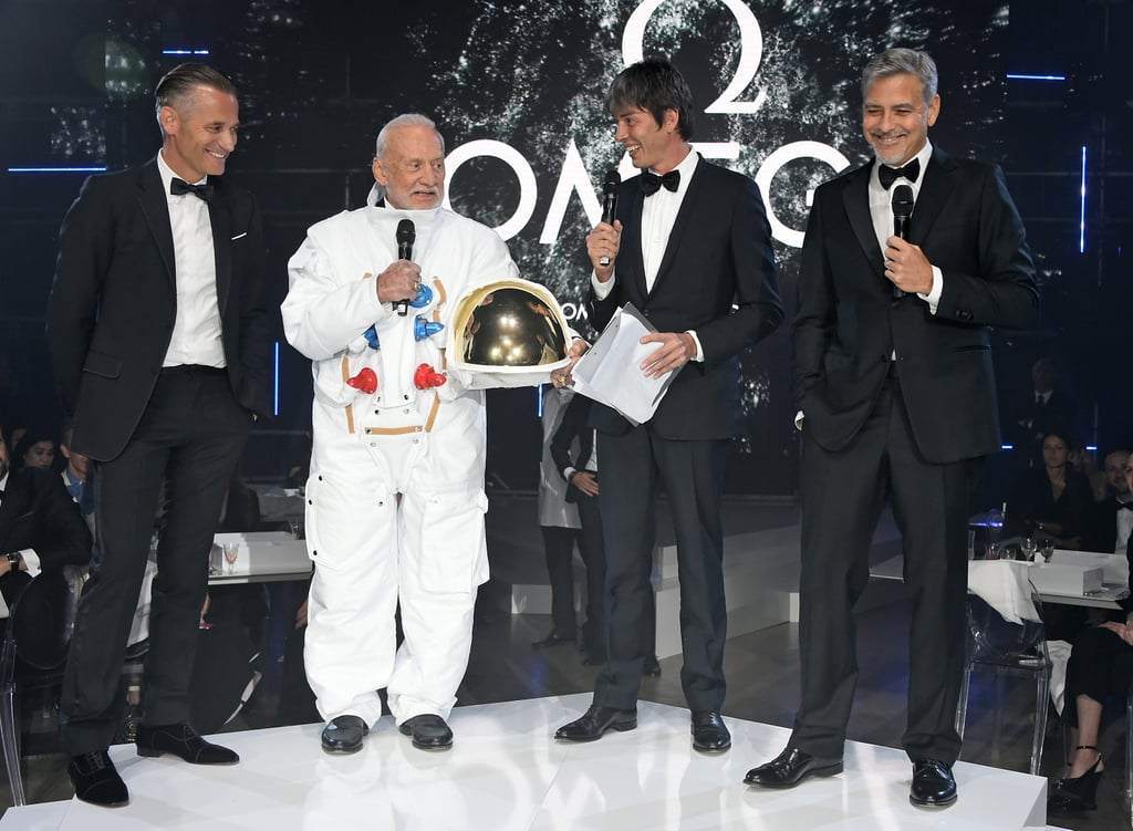 George Clooney looked almost extraterrestrial at Omega's Lost in Space Dinner at London's Tate Modern on Wednesday night, where he played host alongside astronaut Buzz Aldrin. The dinner celebrated the 60th anniversary of the Omega Speedmaster, which has been worn by everyone on a piloted NASA mission since 1965. The glamorous evening showcased our favourite Hollywood prankster (and the watches) in so many good lights we're almost convinced he's from another galaxy.  Pregnant wife Amal may have stayed home for the evening, but it didn't stop George from cosying on up and sharing a laugh with his good friend, the ever-cool Liv Tyler. Other famous faces included Ellie Goulding, Clémence Poésy, Laura Carmichael, Gemma Arterton, and Ellie Bamber. Read on to see all the best pictures of the night, then soak up George's thoughts on fatherhood.