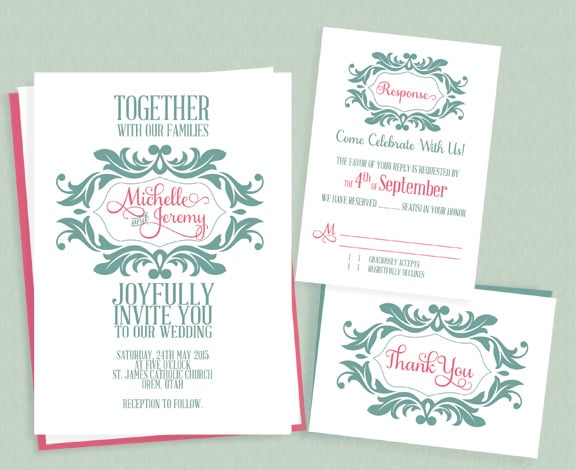 Mint and Pink Stylized Monogram Wedding Invitation