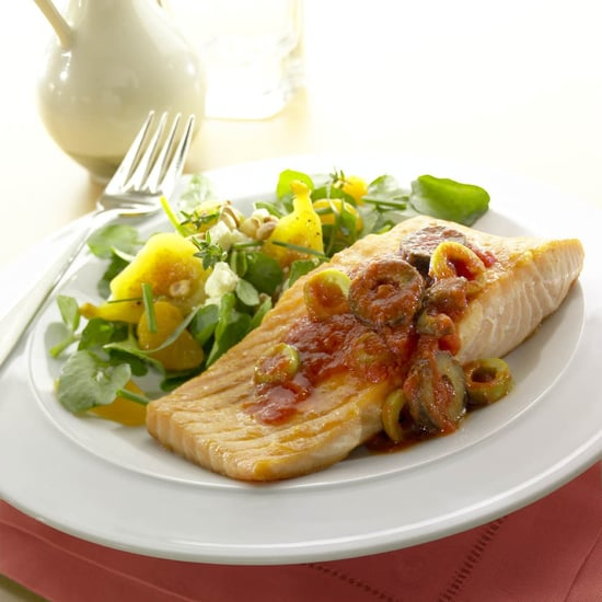 Fast & Easy Dinner: Broiled Salmon with Olive Tomato Vinaigrette