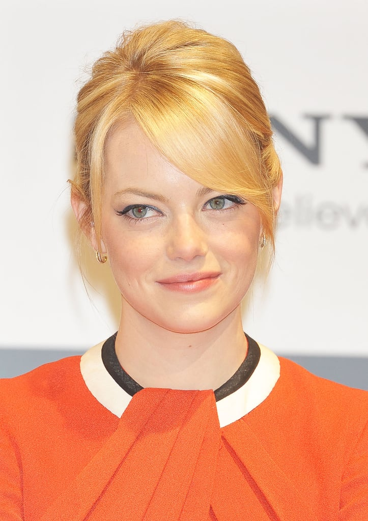 Emma Stone smiled at the press conference for The Amazing Spider-Man in Japan.