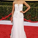 At the 2013 Screen Actors Guild Awards, Kerry was nothing short of angelic in her white strapless Rodarte gown. The slit bodice and lace hemline lent a unique flair.