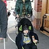 Gwen Stefani and Zuma Rossdale made their way to the train station.