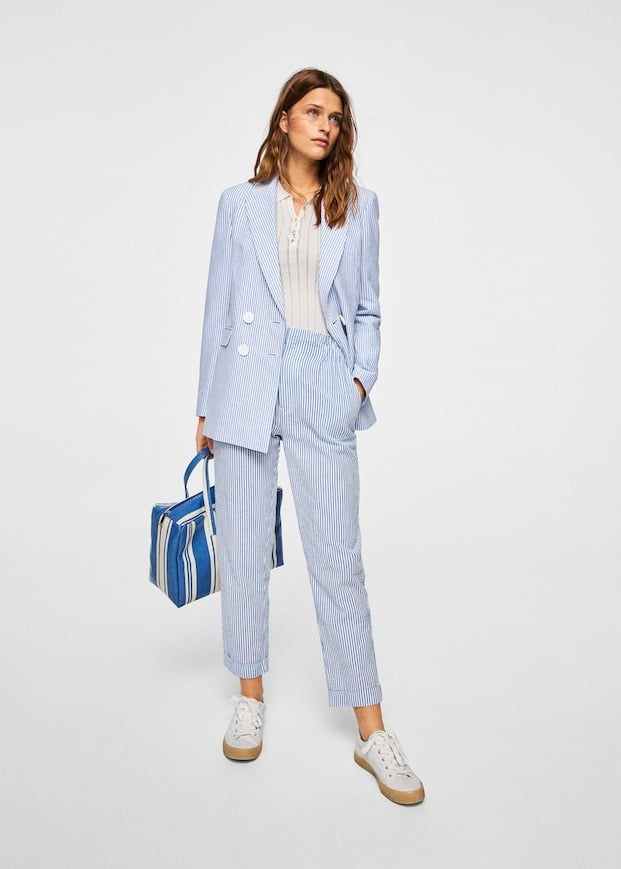 Mango Fine-Stripe Suit Blazer and Trousers   Kourtney Kardashian ... 328e7526d5