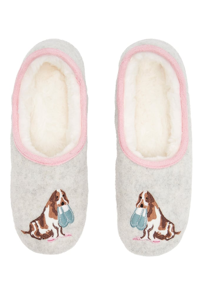 Joules Slippet Felt Faux Fur Lined Mule Slippers
