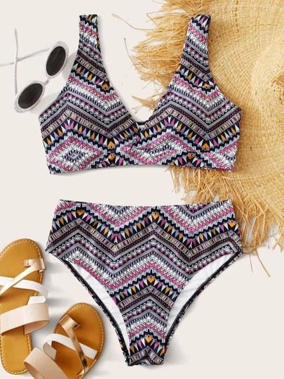 Shein Aztec Print High Waisted Bikini Swimsuit