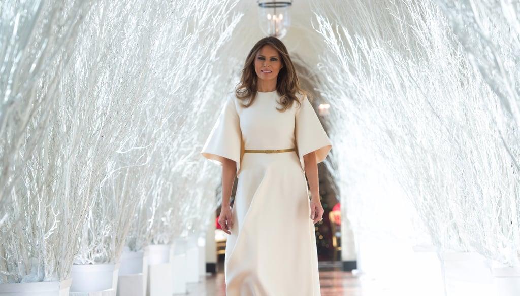Melania Trump Wearing White Midi Dress