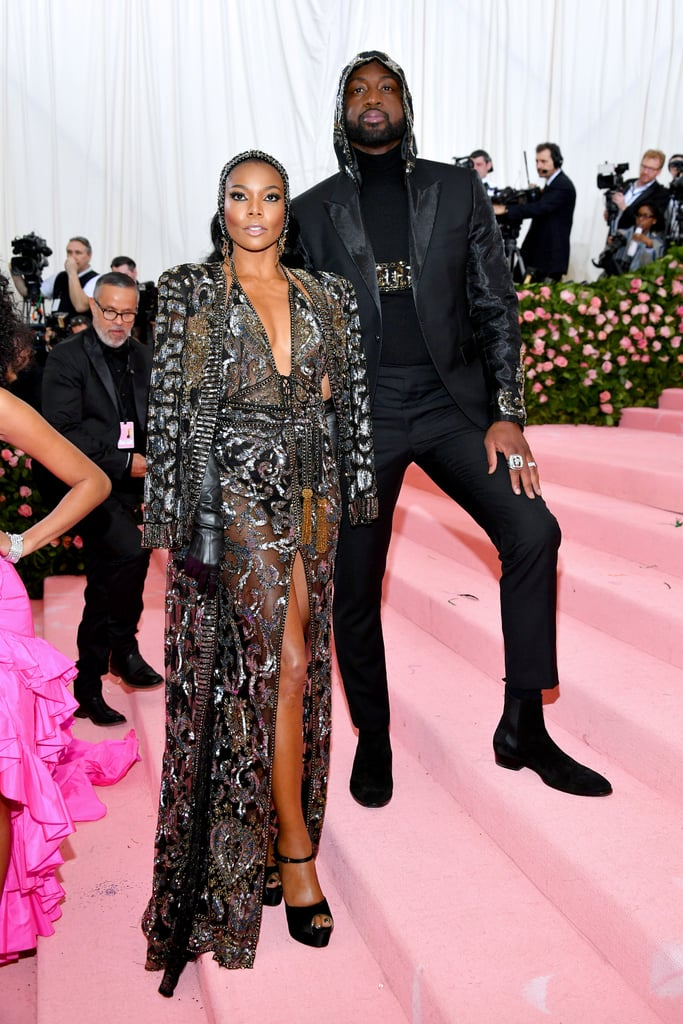 "Gabrielle Union and Dwyane Wade's daughter, Kaavia, is constantly serving looks on Instagram, but for Monday night's Met Gala, it was her parents' time to shine. During the biggest night in fashion, the stunning couple stuck to the ""Camp: Notes on Fashion"" theme with elaborate matching ensembles. They covered themselves in diamonds and embellishments from head to toe (literally), and Gabrielle topped things off with a pair of leather gloves. These two regularly show off their longtime love on social media, and while walking the red pink carpet, they could not keep their eyes off each other. Ahead, check out photos of the gorgeous couple at the 2019 Met Gala, then find out how Dwyane is enjoying life after his NBA retirement.       Related:                                                                                                           These Met Gala Dresses Are So Damn Sexy, We're Gonna Need a Fan to Cool Off"