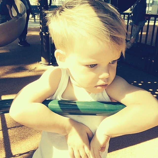 Hilary Duff thinks her little Luca is dreaming of Frozen's Elsa. Source: Instagram user hilaryduff