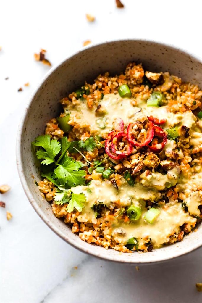 Carrot Cauliflower Rice Salad With Avocado Cream Dressing