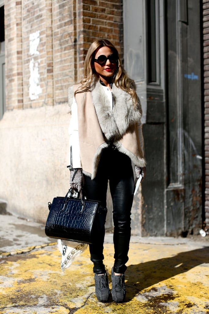 Cozy fur looked even better juxtaposed against slick leather bottoms.