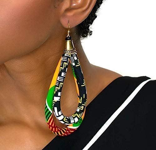 Cloth & Cord Double Loop Kente Ankara Earrings