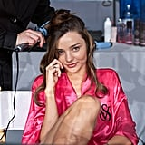 Miranda Kerr was backstage at the Victoria's Secret Fashion Show.