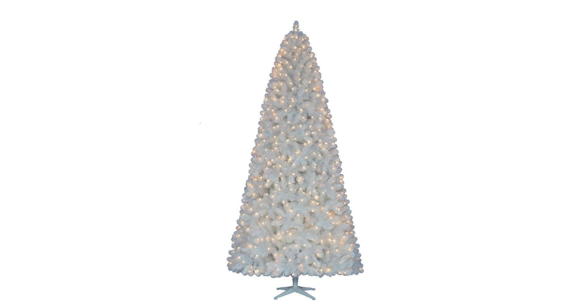 9 Ft. Pre-Lit LED Glossy White North Hill Spruce Quick Set