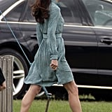 Kate arrived at the polo match in her Libélula dress and Stuart Weitzman sandals.