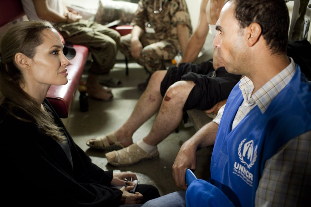 Angelina Jolie met with Syrian refugees minutes after they crossed the Jordanian border.