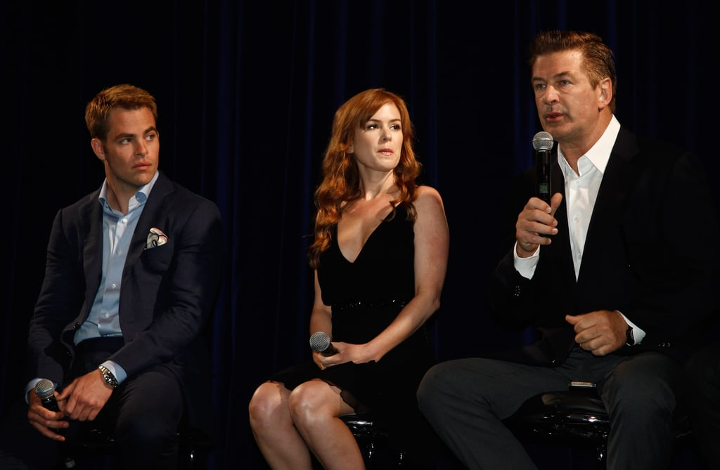 Alec Baldwin, Isla Fisher, and Chris Pine spoke together at a Q&A session for Rise of the Guardians.