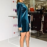 Nicole Richie posed in a blue dress.