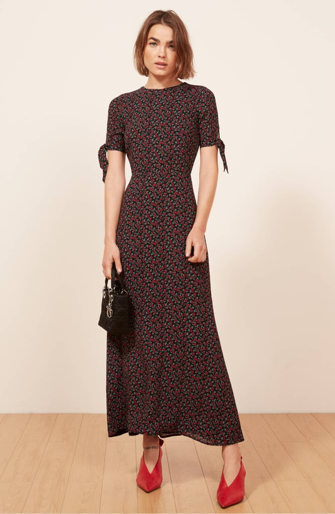 Reformation Amsterdam Tie-Sleeve Bodycon Maxi Dress