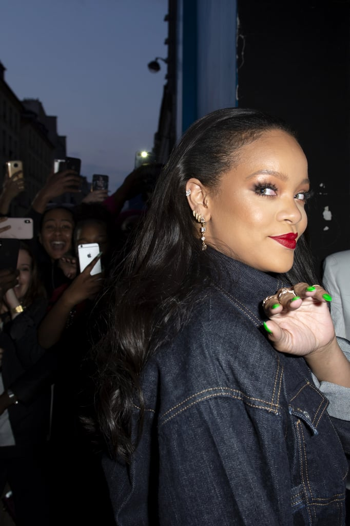 "Rihanna may have been giving fans a sneak peek of Fenty and what's going to be hot in fashion this Summer, but whether she knew it or not, she was also showcasing one of this season's biggest nail trends. At a recent opening of a Fenty pop-up store, the singer had on a solid neon-green manicure. Chief creative officer of Paintbox Eleanor Langston recently told POPSUGAR to expect the electric hues to be huge this Summer. ""We are already starting to see our [Paintbox] clients transition to brighter, bolder colours for an early start to Summer — they're willing warmer weather to come,"" she said. But neons aren't just on our nails — they've made their way into multicoloured makeup palettes too. Ahead, see the look on Rihanna, plus a few polishes you can pick up to re-create the look at home."