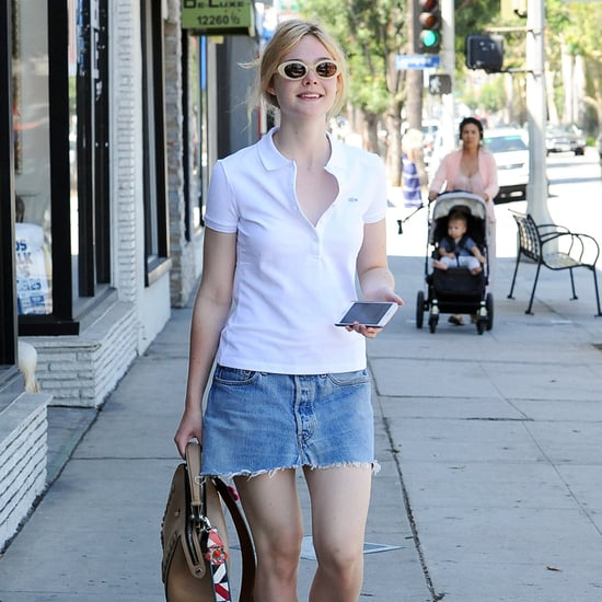 Elle Fanning Wears Denim Skirt and Polo in LA September 2016