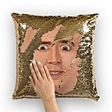 Nicolas Cage Surprised Face Sequin Pillow