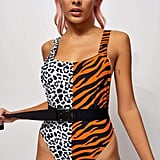 Jaded London Half Tiger, Half Snow Leopard Swimsuit With Belt
