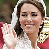 6: Reported number of her and William's exes at the royal wedding:: Rupert Finch and Willem Marx for Kate, and Arabella Musgrave, Jecca Craig, Anna Sloan, and Olivia Hunt for William. 7: Number of times she has borrowed jewelry from the queen, including the Cartier Halo tiara she wore on her wedding day, the Nizam of Hyderabad diamond necklace for a charity function, and a gold shamrock brooch, which had belonged to the queen mother.