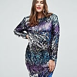 TFNC Long Sleeve Sequin Mini Dress in Multi Sequin With Shoulder Pads