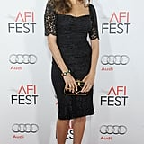 Eva Mendes perfected the bombshell look in her lace, curve-conscious Dolce & Gabbana sheath at the AFI Fest.