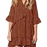 Mitilly Polka-Dot Pocket Casual Dress