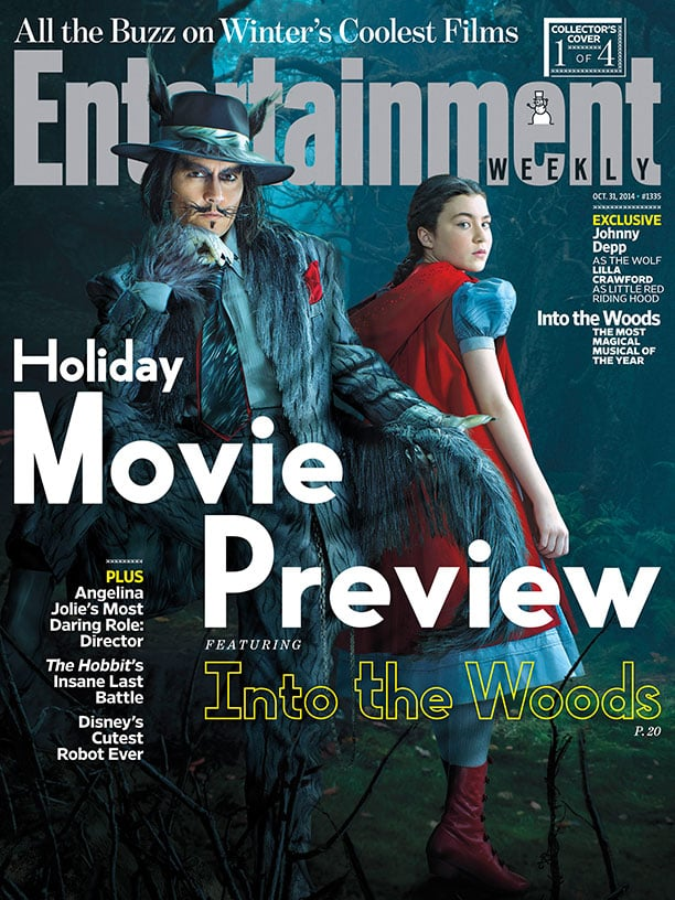 Into the Woods is set to be this Christmas's big movie musical, but one of the things we've been dying to see is how Johnny Depp looks as The Wolf. When the trailer and the first set of pictures came out, there was only a glimpse of him, but finally! He's on the cover of this week's Entertainment Weekly in full Wolf regalia, and it sure is something. There are also a few other covers for the movie, so click through to get a closer look at the Broadway adaptation's stars, like Anna Kendrick and Emily Blunt. Front Page Image Source: Disney