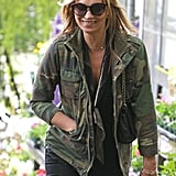 Kate Moss wore an army jacket in London.