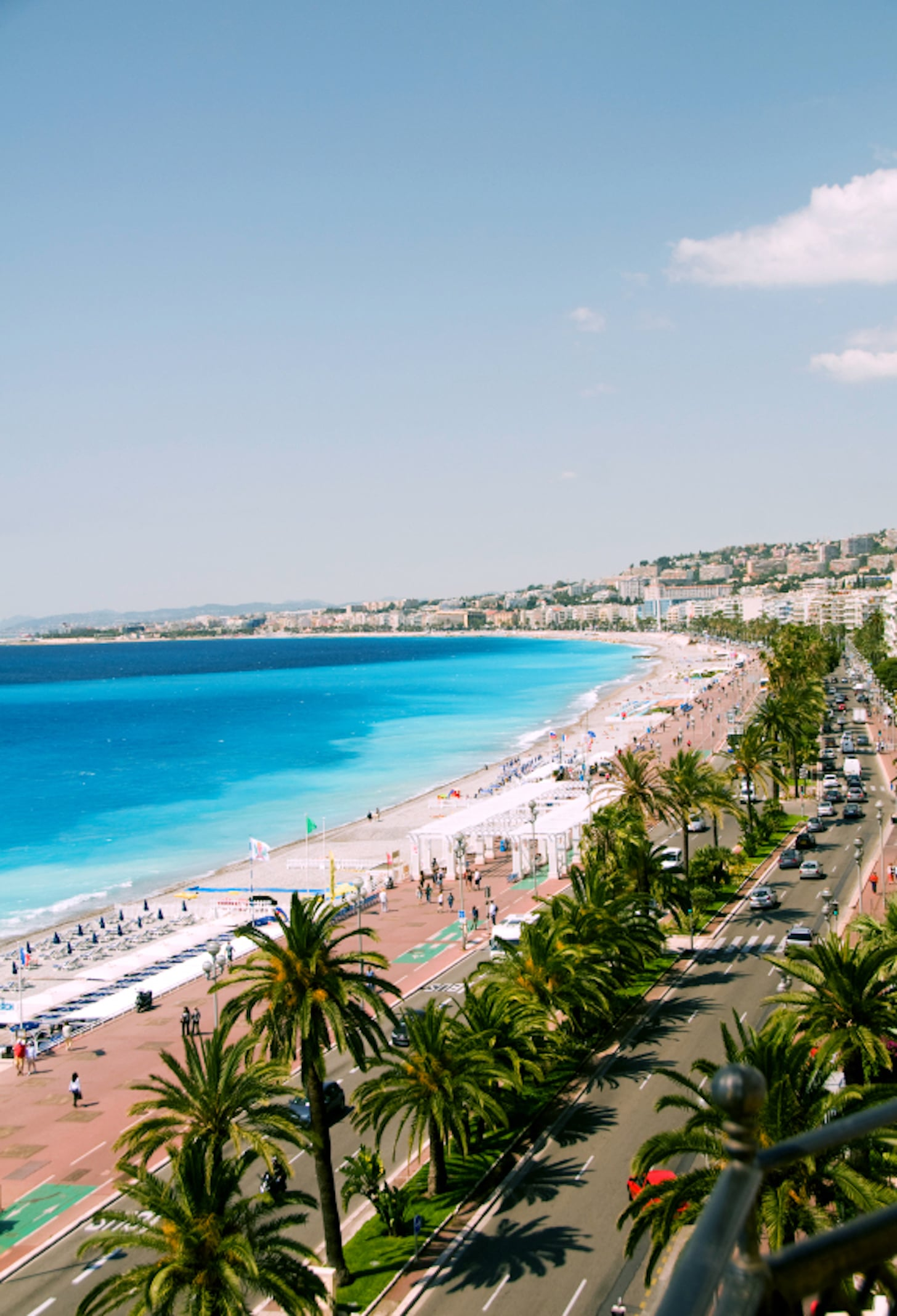 The French Riviera Cote d'azur Nice France beach on famous Promenade des Anglais hotel lined boulevard