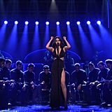 """For her first full-length performance of the night, Selena sang a """"Same Old Love"""" mashup wearing a super sexy black cutout dress."""