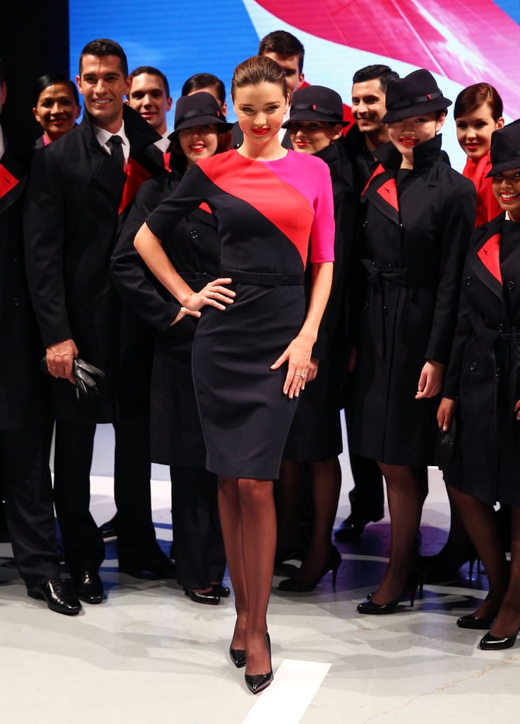 Miranda Kerr hit the catwalk to show off Qantas airline's new fashion-forward uniforms in Sydney.