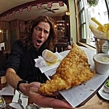 Shaun White chowed down on fish and chips.  Source: Twitter user Shaun_White
