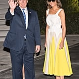 Melania's daffodil Delpozo dress was like lightning in the night when she returned to the White House from vacation in August 2017. Her visor top shades, however, were an unexpected twist.