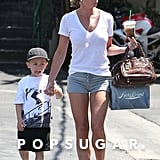 Jaime Pressly spent the day in LA with son Dezi.