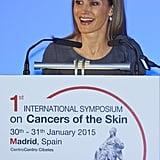 In January, Queen Letizia spoke at a skin cancer event at the Palacio de Cibeles.