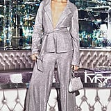 Pretty Little Thing Silver High Waisted Wide Leg Trousers