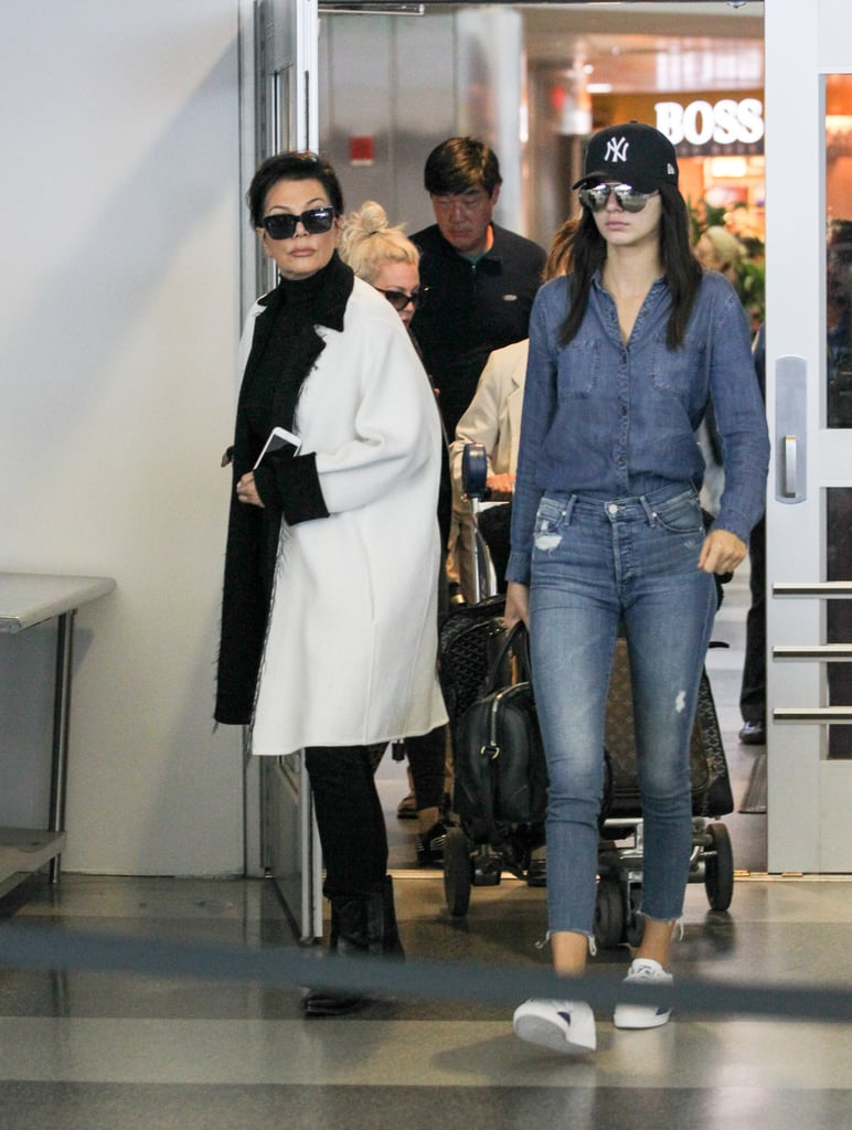 Her Go-To Travel Look Is Denim on Denim