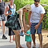 Elizabeth Banks was in Hawaii with husband Max and son Felix.