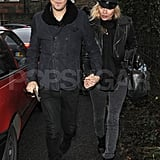 Kate Moss and husband Jamie Hince wore hats to fight off the English cold.