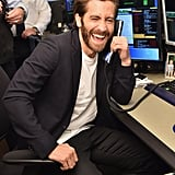 Jake was all laughs while answering phones during Annual Charity Day in September 2017.