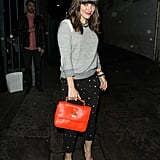 During a night out in Hollywood, Sophia dressed up her 194t raglan sweater with star-print Isabel Marant denim, patent Christian Louboutin pumps, and her red Mulberry Bryn bag.