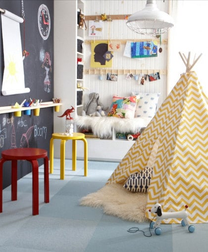 Fit for the stylish playroom, this chevron tent ($115) offers your tots their own hideaway for playtime, nap time, or anytime!