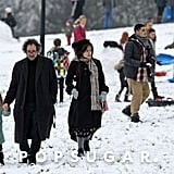 Tim Burton and Helena Bonham Carter joined their kids, Billy and Nell, for some sledding and snowball action on London's Primrose Hill in February 2012.
