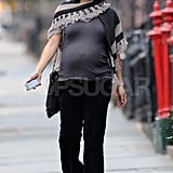 Maggie Gyllenhaal in NYC with a baby bump.