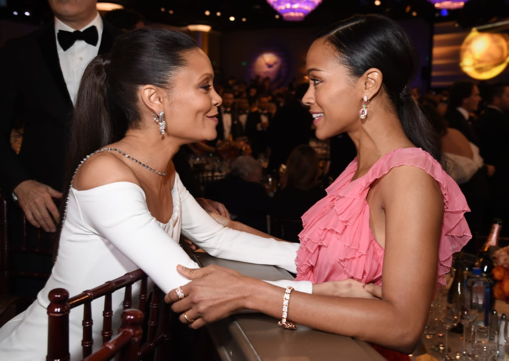 Thandie Newton and Zoe Saldana shared a sweet moment.
