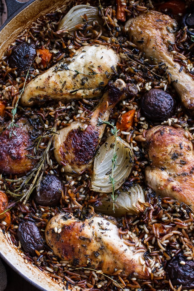 Herb-Roasted Chicken With Toasted Rice Pilaf